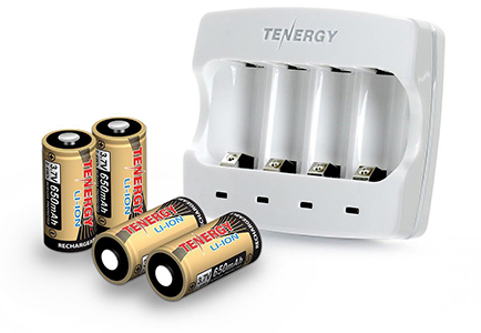 Tenergy Rechargeable CR123 Batteries & Charger