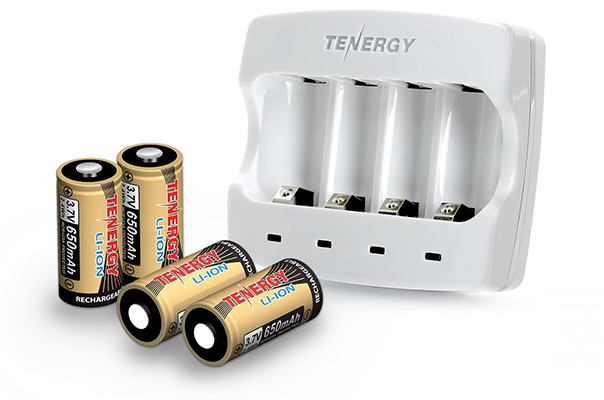 Tenergy Rechargeable CR123 Batteries and Charger